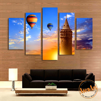 Cheap Split acrylic landscape paintings on canvas 5 panel canvas art