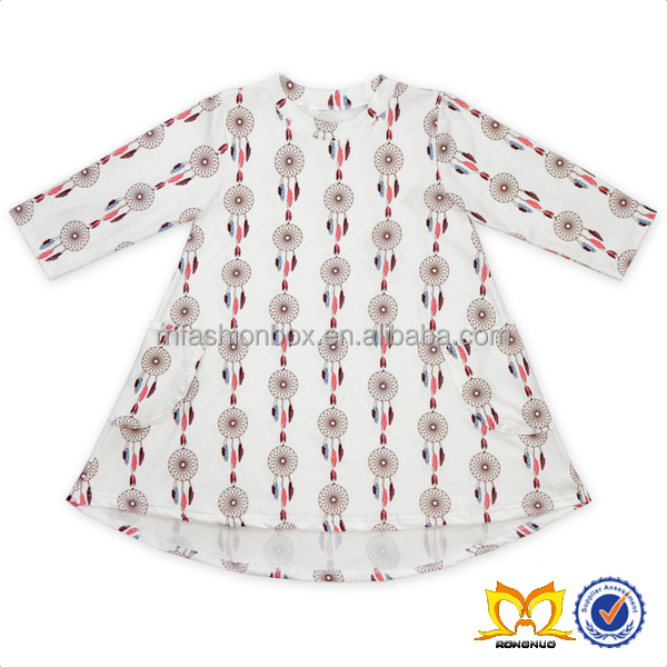 Fashion White National Style Dress Children Party Dresses Baby Wholesale Pocket Girls Clothing.