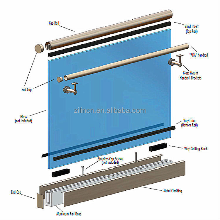 aluminum deck railing u channel glass railings glass. Black Bedroom Furniture Sets. Home Design Ideas