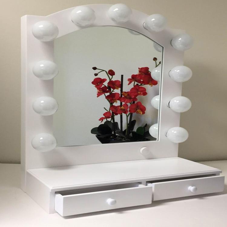 Moda Cosmética Maquillaje Espejo De Pie Con Luces-Estantes