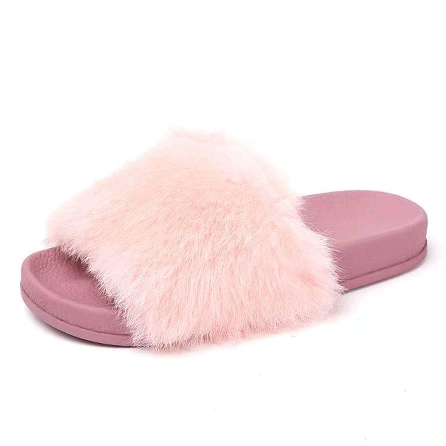 5c699ae05957e Get Quotations · Faber3 Fur Flat Slippers Women s Cozy Fleece House  Slippers Womens Indoor Warm Fleece Slippers Ladies Girls