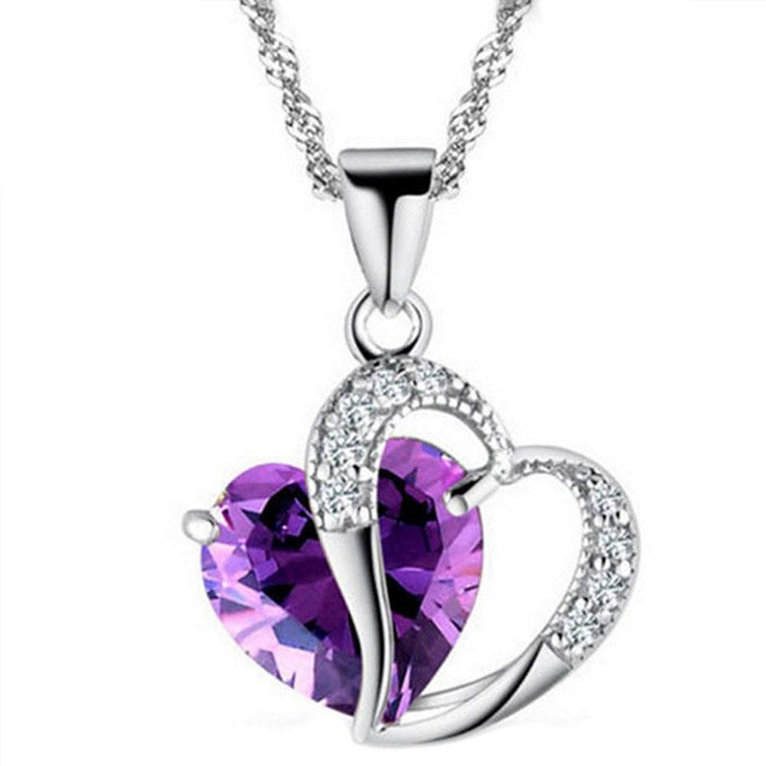 iLH Clearance Deals Fashion Women Heart Crystal Rhinestone Silver Chain Pendant Necklace Jewelry by ZYooh