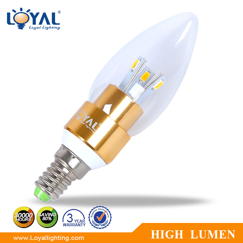 IP20 High lumen 2700-6500k glass cover smd 3w led lights candle e14