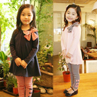 Girl's long sleeved striped pantsuit sport children cotton kids girls matching clothing sets