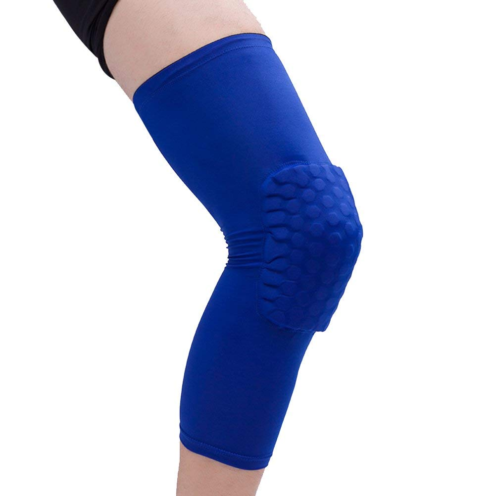 WINOMO 1 Piece Breathable Sports Football Basketball Knee Pads Honeycomb Knee Brace Leg Sleeve Calf Compression Knee Support Protection (Blue) - Size M