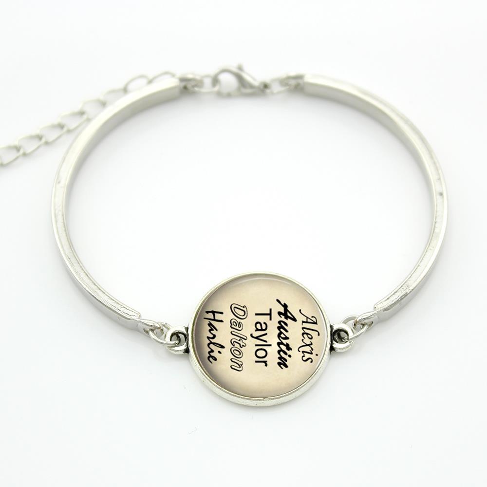 Персонализированные имена браслет, Имена фамилий письма искусстве стекло кабошон купол браслет обычай украшения NB001