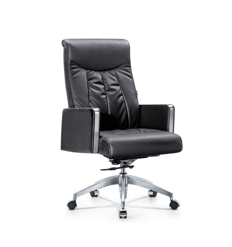 Gas Lift Leather Office Chair With Rectangle Armrest