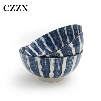 "7"" free sample blue decorative ceramic salad soup bowl"