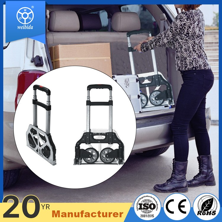 WBD folding stainless steel aluminum alloy railway station airport passenger hand luggage trolley