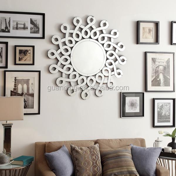 tallado espejo biselado redondo decorativo espejo de pared