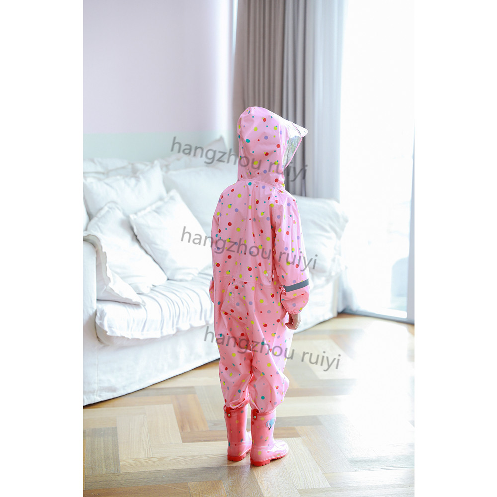 Directly factory kids Conjoined pvc raincoat with sleeves