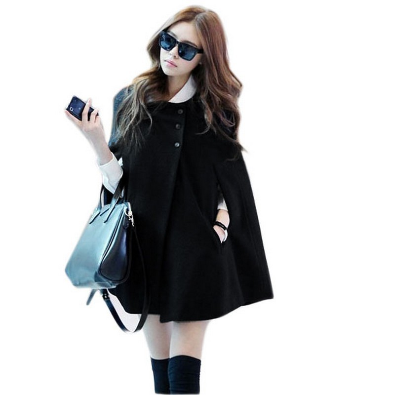 ca889d1c89661 Get Quotations · Autumn Hot O-Neck Bat Sleeved Single Breasted Long Wool  Coat Winter Casual Plus Size