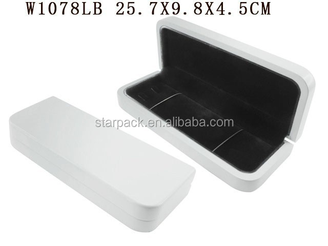 White Glossy Lacquer Jewelry Packaging Jewellery Wooden Box for Double Bracelet with Elastic Band W1078LB