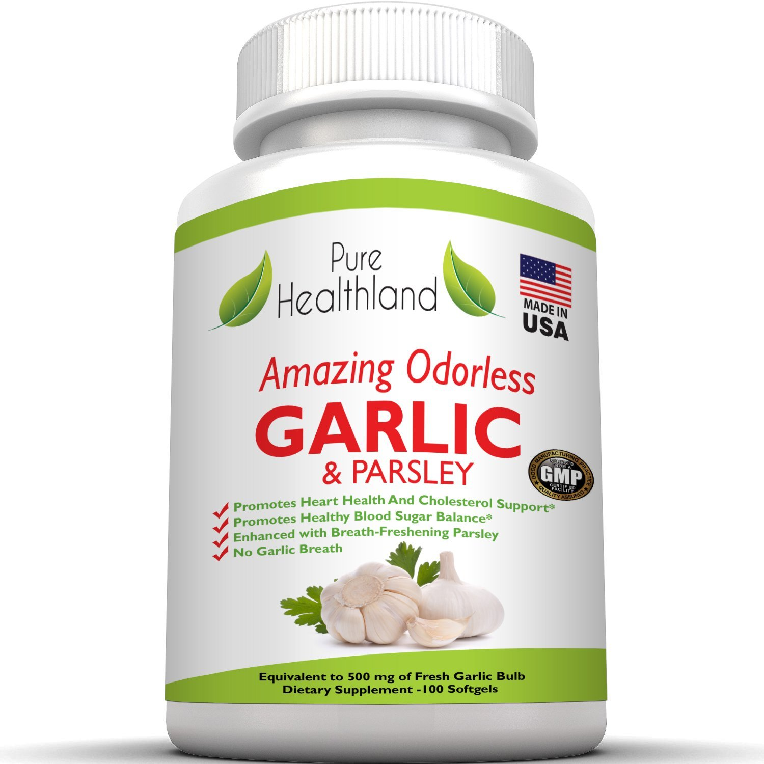 AMAZING ODORLESS Garlic And Parsley Softgels For Men And Women. Equal To 500mg Fresh Garlic Bulbs. Best Garlic Pills. Allium Sativum Helps Lower Cholesterol And Blood Pressure Naturally - 3 Bottles
