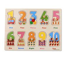 Детские игрушки Монтессори, деревянные пазлы/Набор для ручной захвата, Обучающие деревянные игрушки, мультяшный автомобиль/головоломка дл...(Китай)
