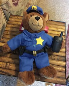 Police Bear Plush Policeman with radio gun holster belt Stuffed Toy