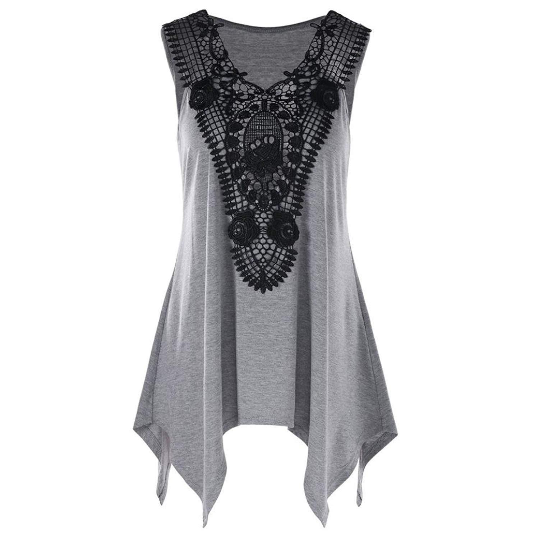 5bd369ac2dc Mikkar Women s T-Shirt Tops Tees Clearance Irregular Plus Size Lace Trim  Tank Top
