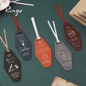 PU Leather Gilding Doorplate Bookmark With Delicate Ribbon