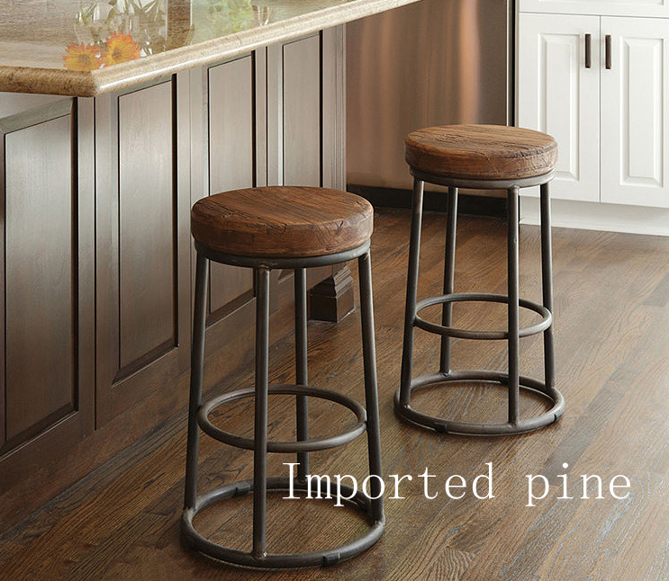 High Quality Durable Stool Used Solid Wood Metal Bar