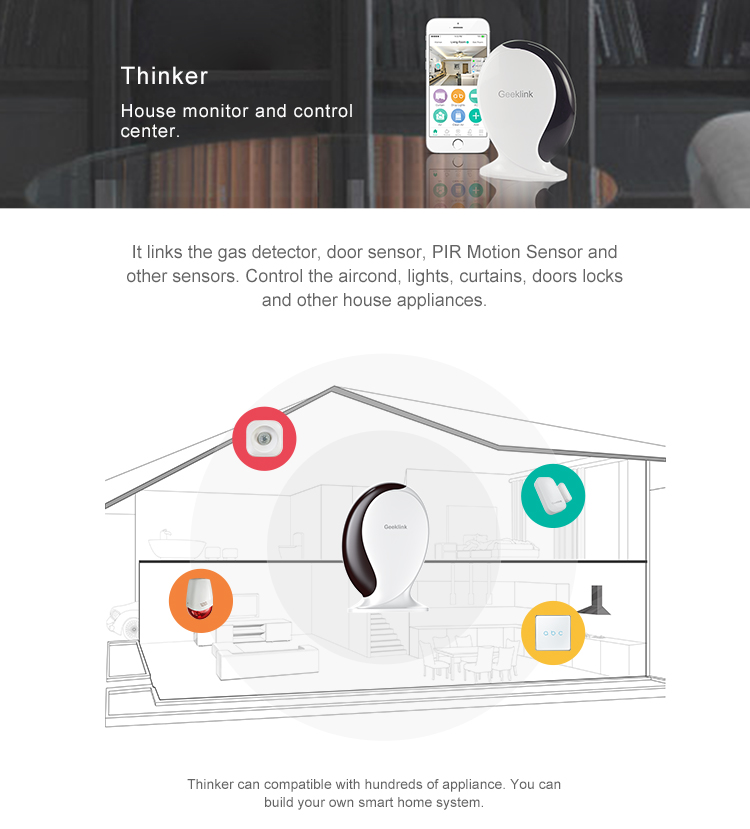 Geeklink Thinker smart home iot gateway work with IR/RF control and sensors for security smart home gadgets