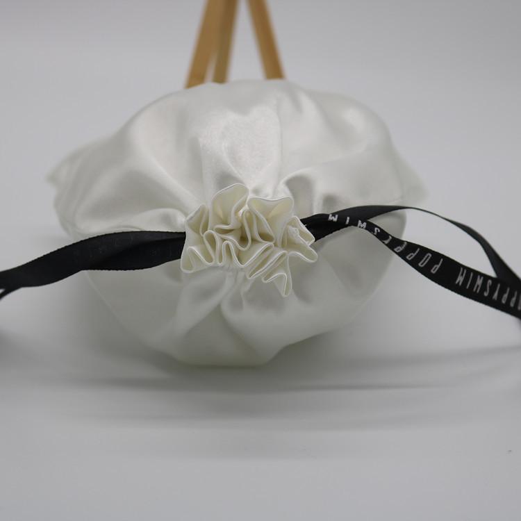فاخر مخصص الطباعة شعار الأبيض رسم سلسلة حقيبة ساتان للهدايا/الشعر التمديد/الملابس/التسوق الغبار حقيبة التعبئة والتغليف