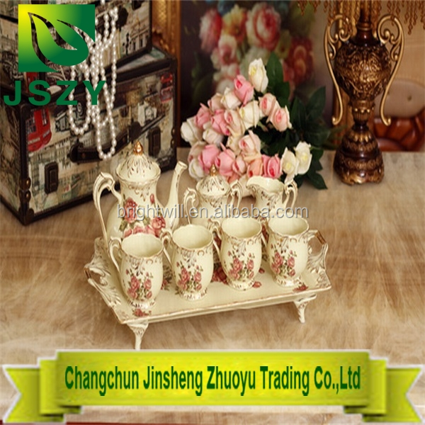 European Style Ceramic teaset,fashion design tea pot with tea cups packing in gift box