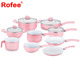 13-Pcs Hot Pink Non-stick Ceramic Coating Cookware Set for Kitchen Cooking
