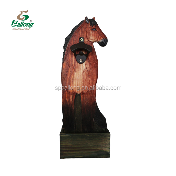 Ready to ship decorative hand carved animal shape wooden beer bottle opener