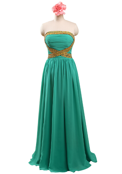 Real Samlpe Long Chiffon Ruffled Gold Beading Elegant Emerald Green Prom Dresses Ballkleider,PD0028