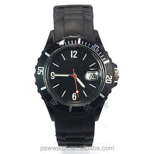 Black fashion plastic watches custom logo