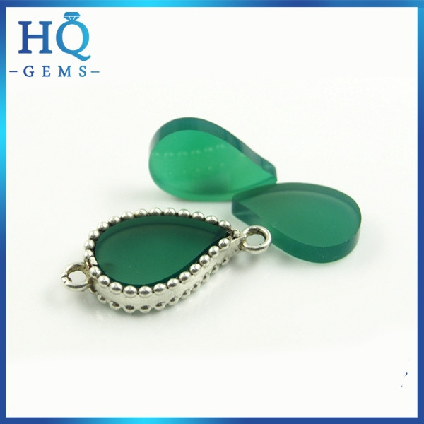 HQ Good Price Natural Green Agate Leaf Shaped Gems For Pendent