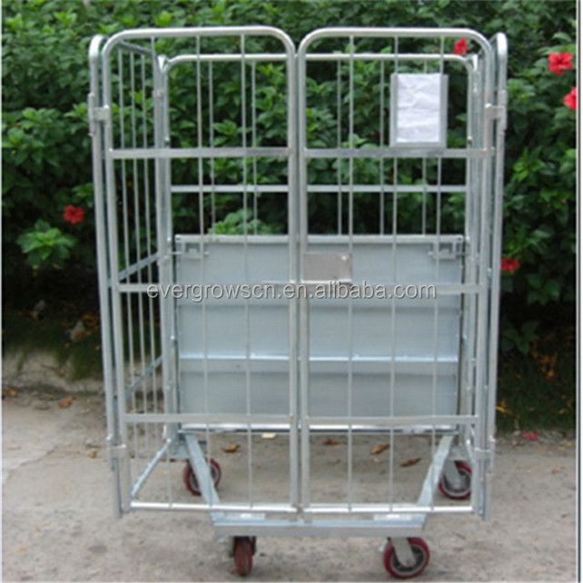 Reinforced design logistics nestable supermarket steel roll cages