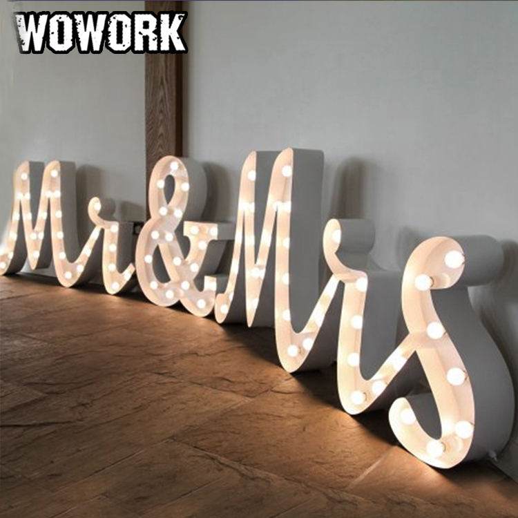 wedding decoration light LED LOVE letter lamp Mr and Mrs marquee led light