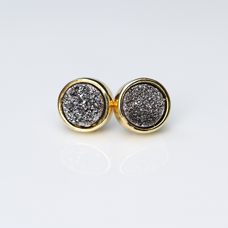 Fashion Gold Plated Fancy Natural Druzy Stud Earring