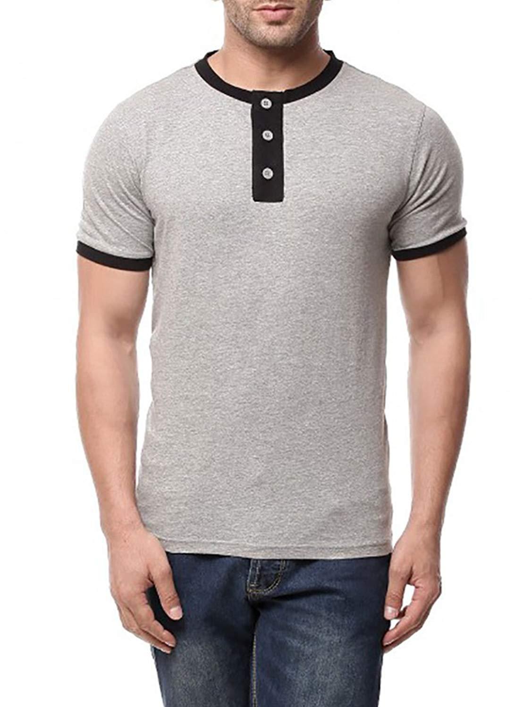 209bb1a7f3d712 Get Quotations · Makkrom Mens Slim Fit Crew Neck Short Sleeve Button  Placket Henley T Shirt Top