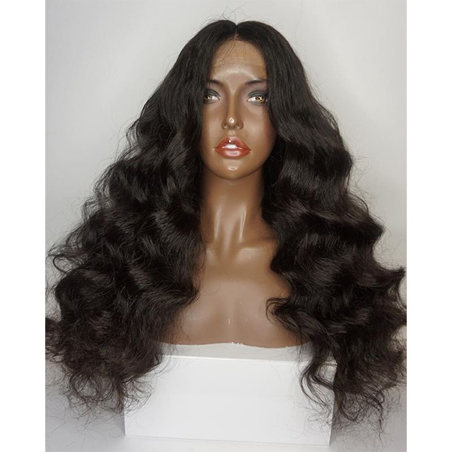 Hot Selling Cheap Brazilian Natural Brown Long Wavy Human Hair Wigs Glueless Frontal Invisible Lace Wig With Baby Hairs