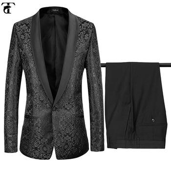Italian Luxury Mens Black Suits Jacket Pants Formal Dress Men
