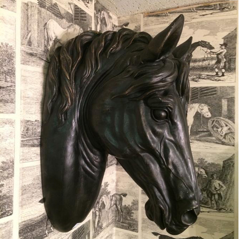 Home Yard Decoration Metal Craft Life Size Black Horse Head Wall Sculpture