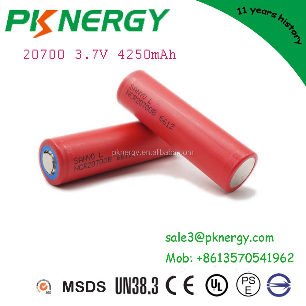 Hot sale rechargeable 20700 lithium ion battery 3.7V 4250mAh cylindrical cell