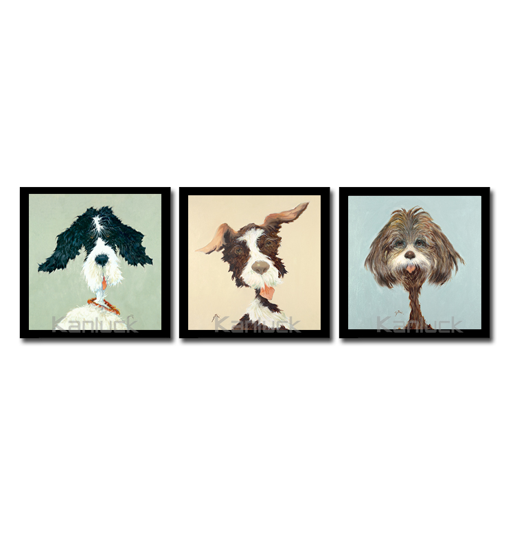 'Crazy Dog' Pets Painting Framed Graphic Print Art Set (Set of 3)