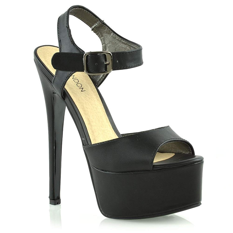 8c5ba65ecc3b ESSEX GLAM Womens Platform Stiletto Heels Ladies Ankle Strap High Heel Prom  Shoes