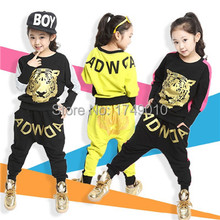 2015 Tiger Print Girls' Clothing Set Spring Autumn New Kids Sports Suit Long Sleeve Top & Harem Pants Sets  kx043