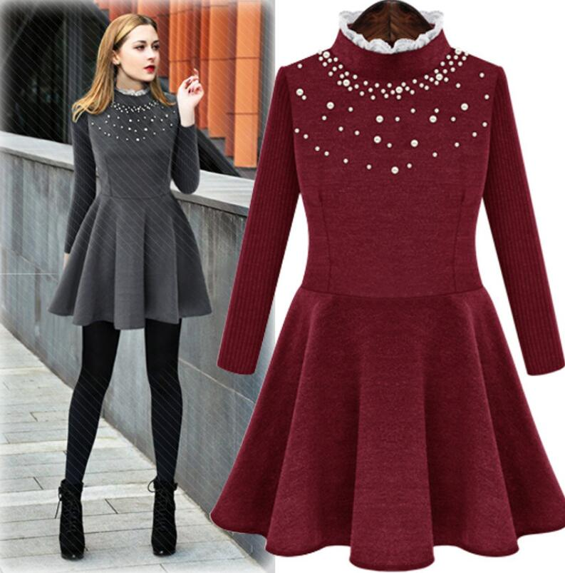 M1001 Runwaylover fashion design bead decoration knitted crochet ladies winter sweater dress