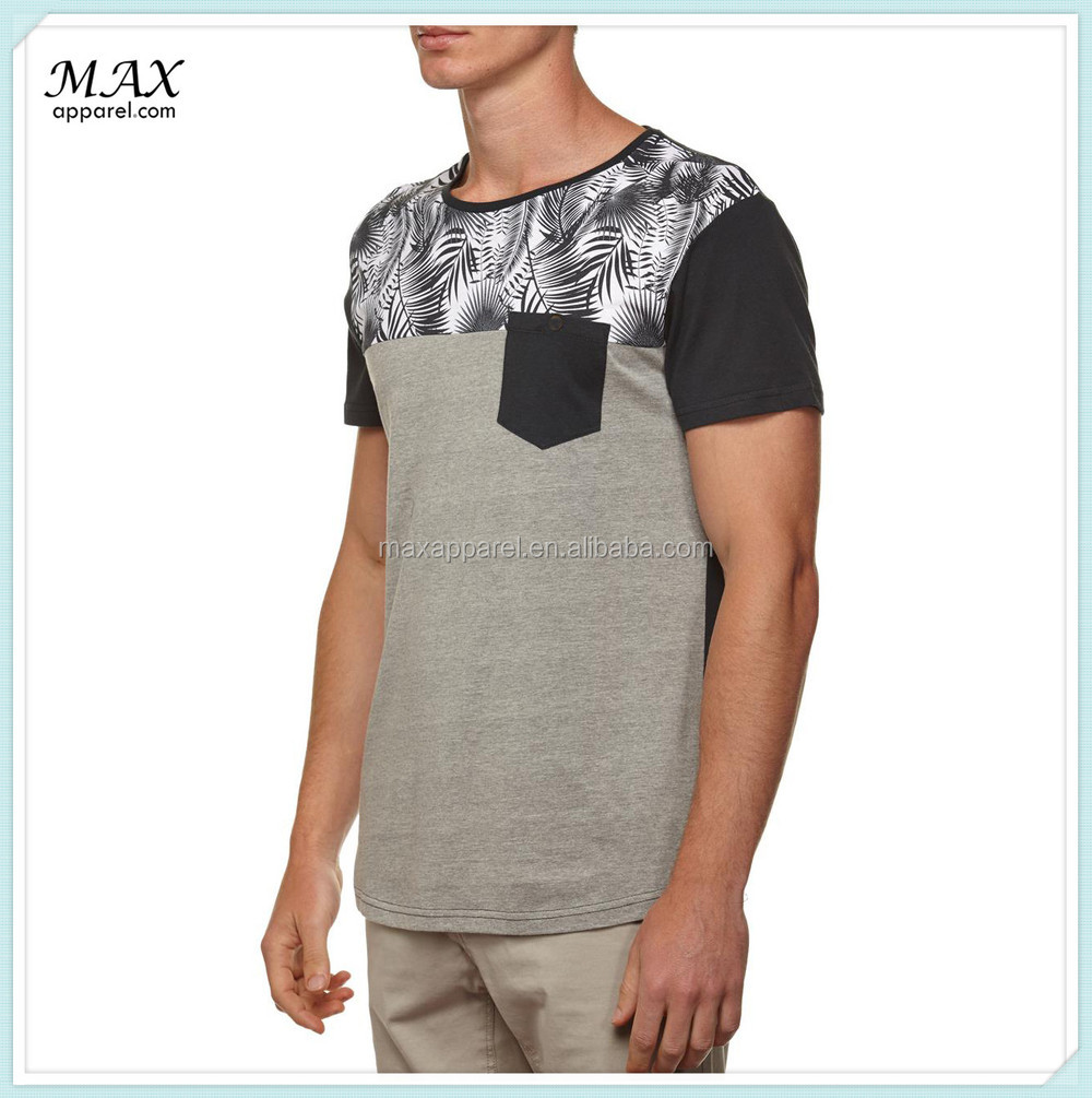 Man short sleeve cotton t shirt chest pocket design t for Pocket t shirt printing