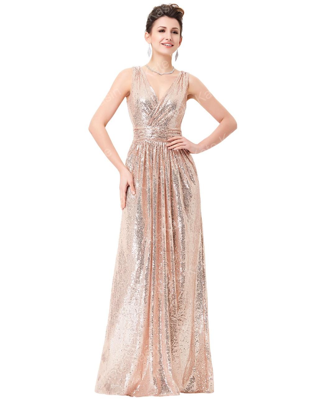 Kate Kasin Sleeveless V Neck Rose Gold Shining Sequined