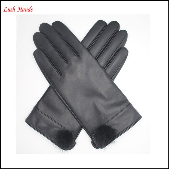 ladies winter driving black leather hand gloves with ball top