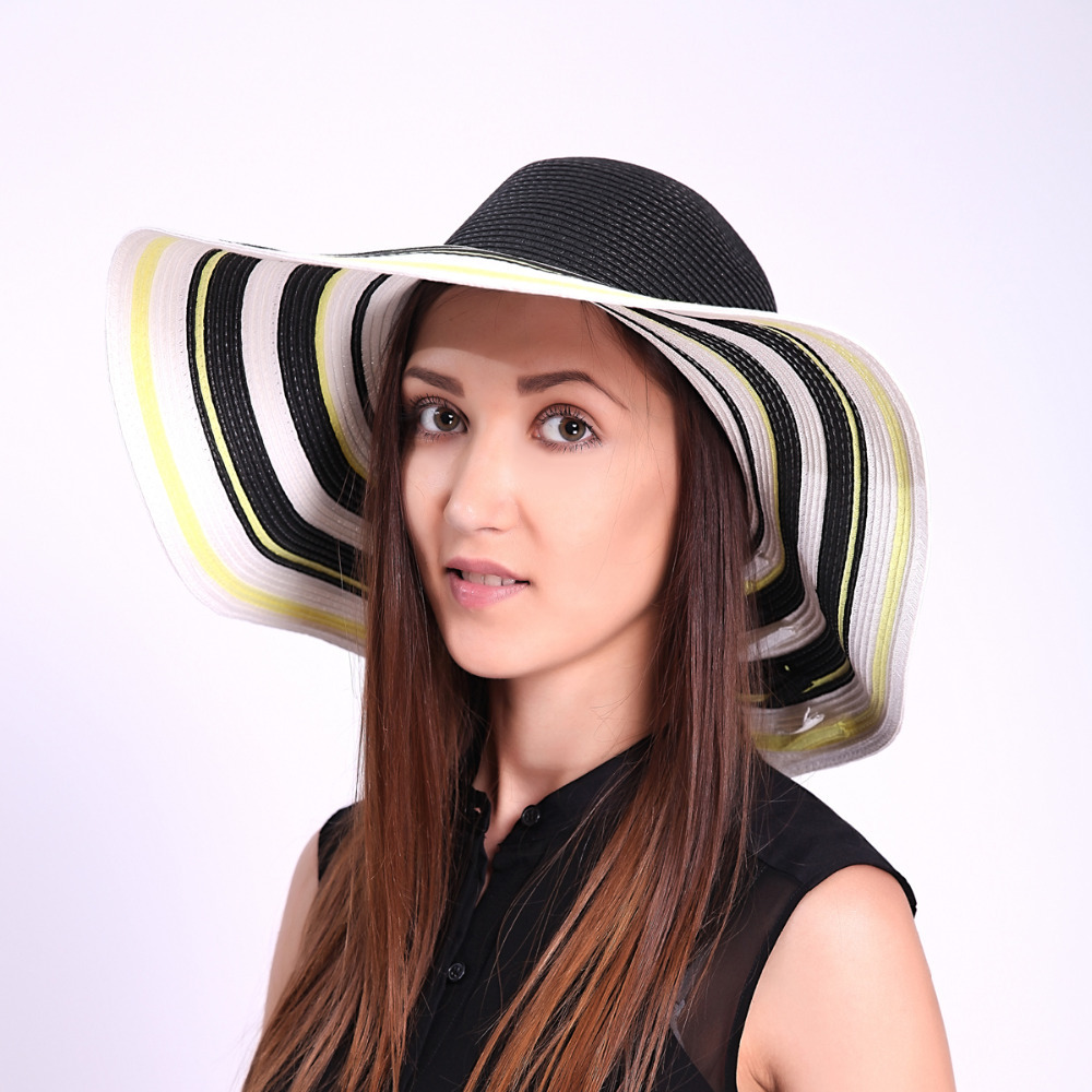 Vancol 2015 Hot Summer Women Elegant White Black Striped Hat Wide Large Brim Foldable Casual Beach Vacation Whole Sale Hat Straw