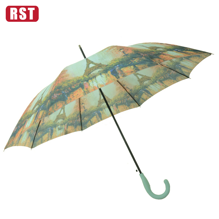 RST 190T pongee straight umbrella paris city and eiffel tower umbrella rubber tips