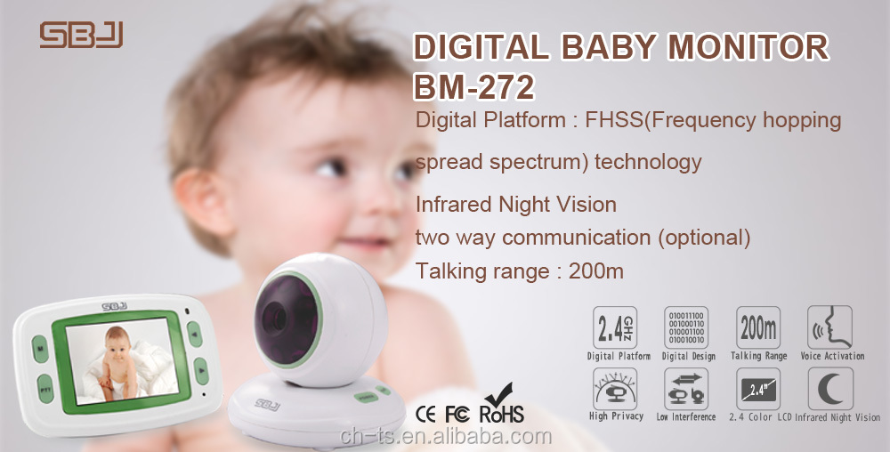 2.4Ghz digital wireless video baby monitor night vision night light two way communication