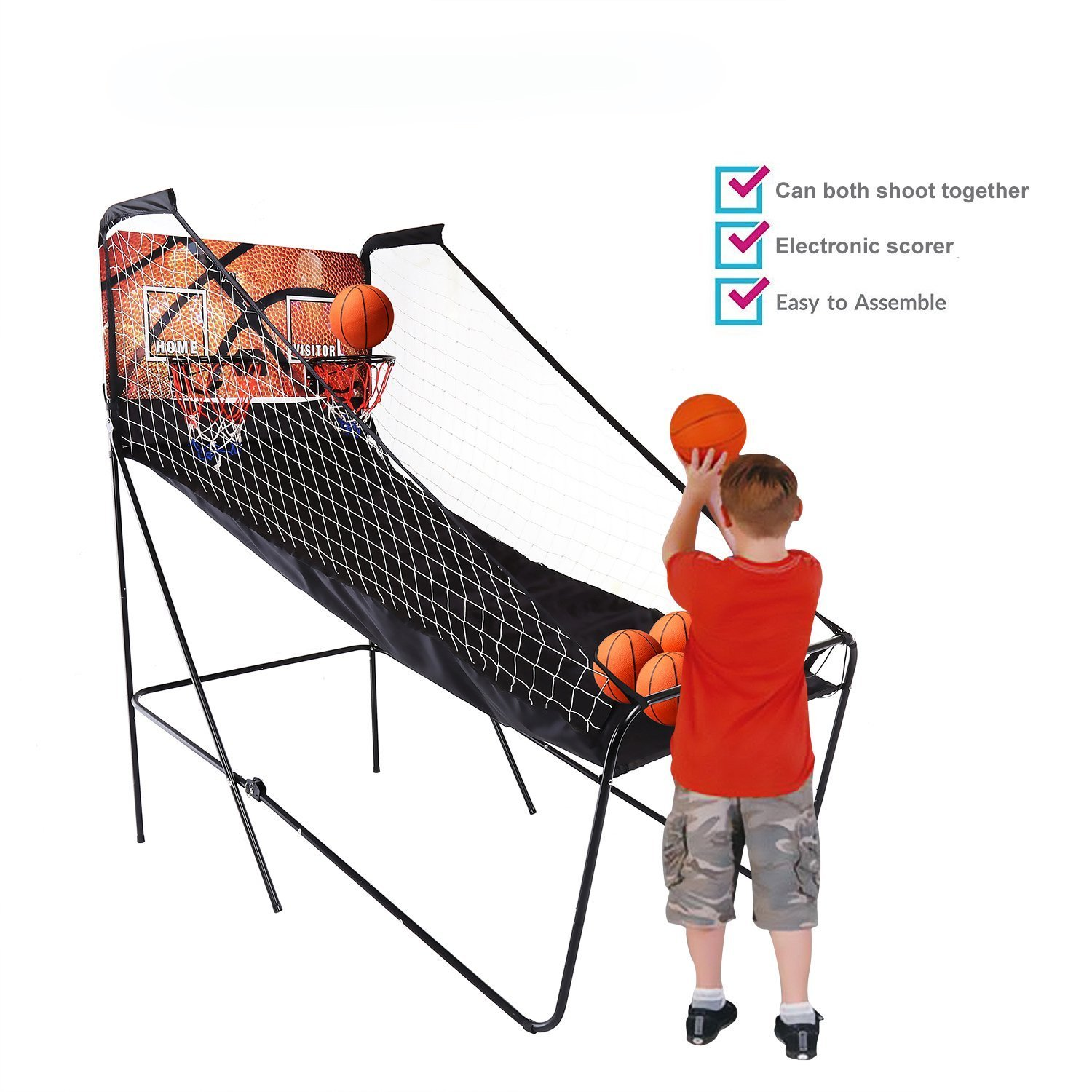 Garain Folding Home Indoor Dual Shot 2-Player 8-in-1 Electronic Basketball Arcade Game Machine Double Hoops with 5 Balls, Inflation Pump, LED Scoreboard and Timer for Kids, Teens and Adults